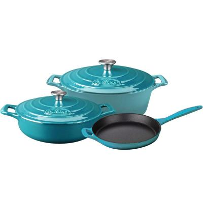 5-Piece Enameled Cast Iron Cookware Set with Saute, Skillet and Oval Casserole in High Gloss Teal