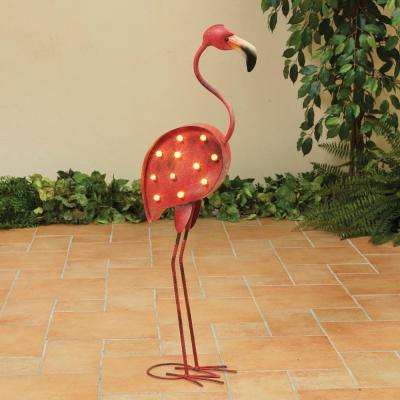 Battery Operated Metal Flamingo Bird Figurine
