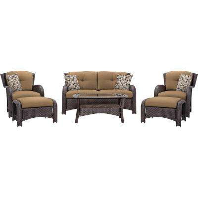 Corolla 6-Piece Wicker Patio Conversation Set with Tan Cushions