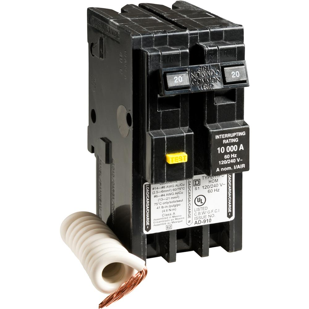 square d  homeline 20 amp 2-pole gfci circuit breaker