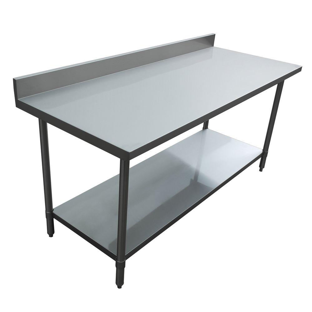 excalibur stainless steel kitchen utility table with backsplash et163b3072s the home depot. Black Bedroom Furniture Sets. Home Design Ideas