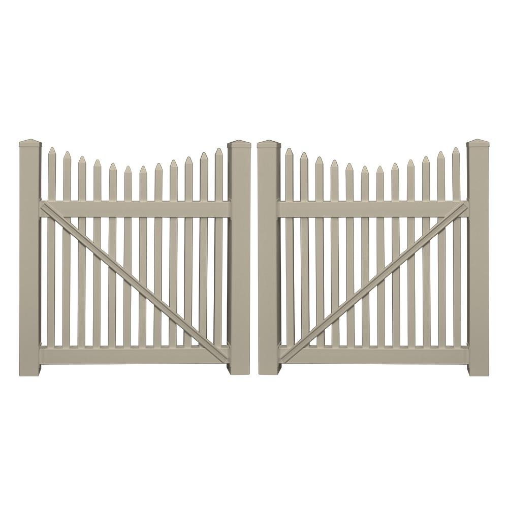 picket fence double gate. Weatherables Barrington 8 Ft. W X 3 H Khaki Vinyl Picket Fence Double Gate B