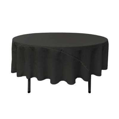 90 in. Black Polyester Poplin Round Tablecloth