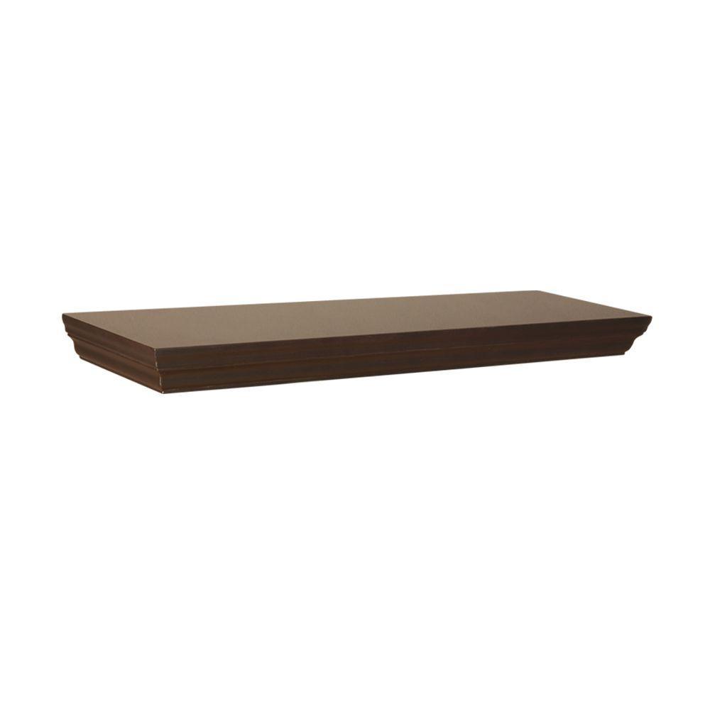Home Decorators Collection 23.6 in. W x 7.5 in. D x 1.77 in. H Espresso Profile MDF Floating Shelf
