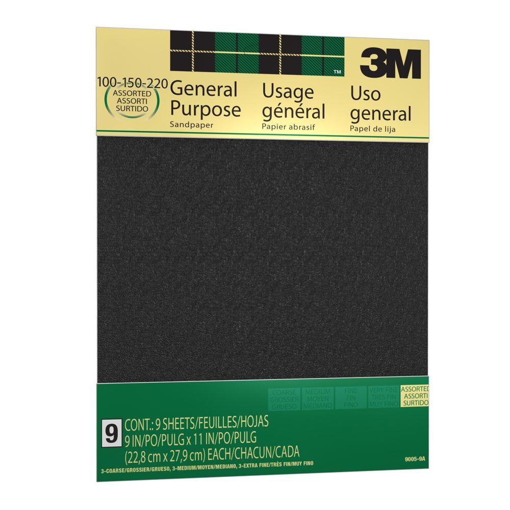 3M 9 in. x 11 in. 100, 150 and 220 Grit Medium, Fine and Very Fine Aluminum Oxide Sand paper (9 Sheets-Pack)