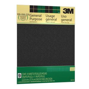 9 in. x 11 in. 100, 150 and 220 Grit Medium, Fine and Very Fine Aluminum Oxide Sand paper (9 Sheets-Pack)