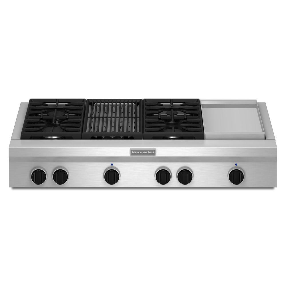Kitchenaid 48 In Gas Cooktop Stainless Steel With Grill Griddle And 4 Burners