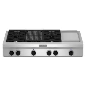 KitchenAid 48 inch Gas Cooktop in Stainless Steel with Grill, Griddle and 4... by KitchenAid