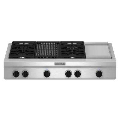 48 in. Gas Cooktop in Stainless Steel with Grill, Griddle and 4 Burners