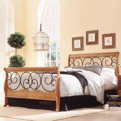 Dunhill Honey Oak Queen-Size Complete Bed with Wood Sleigh Style Frame and Autumn Brown Metal Swirling Scrolls