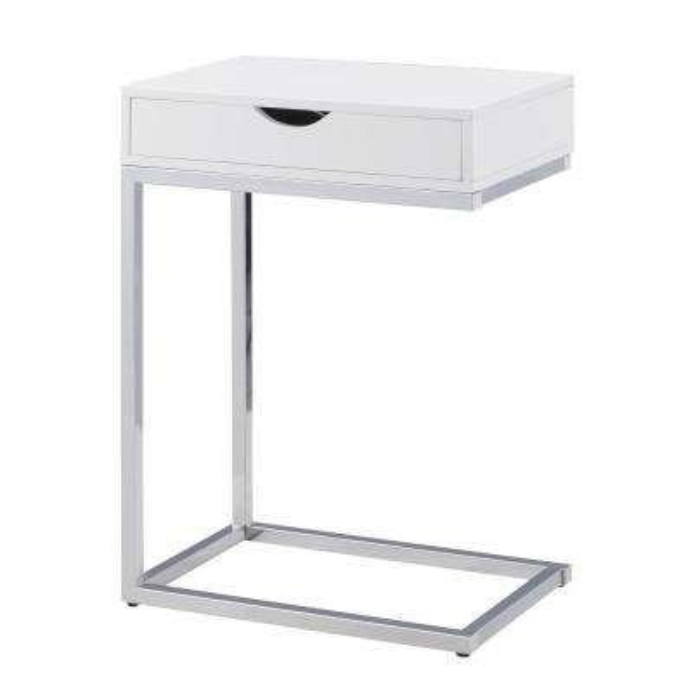 Bence White Storage C Table