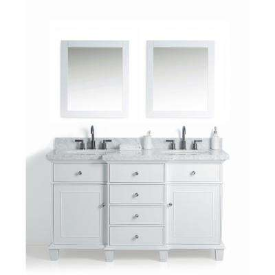 60 in. W x 22 in. D Vanity in White with Cararra Marble Vanity Top in White with White Basin and Mirror