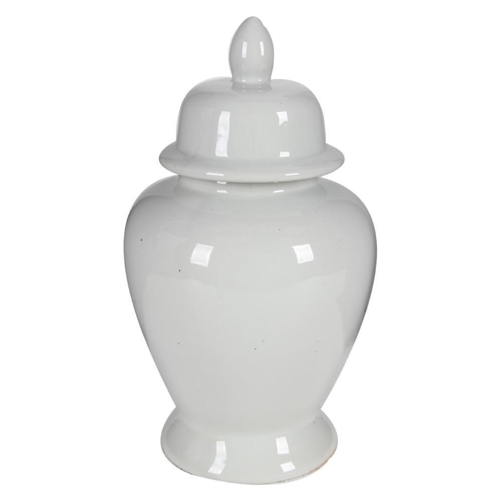 Decorative White Porcelain Decorative Ginger Jar with Lidded Top