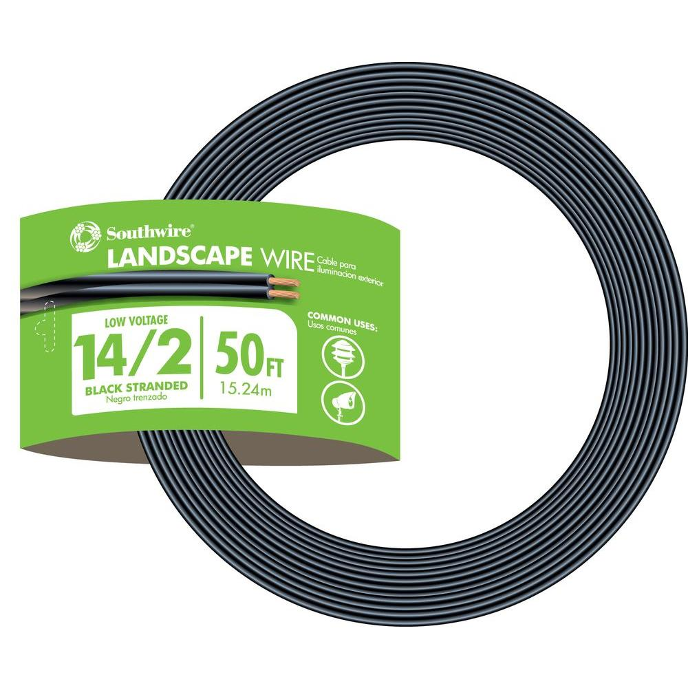 Southwire 50 ft. 14/2 Black Stranded CU Low-Voltage Landscape Lighting on