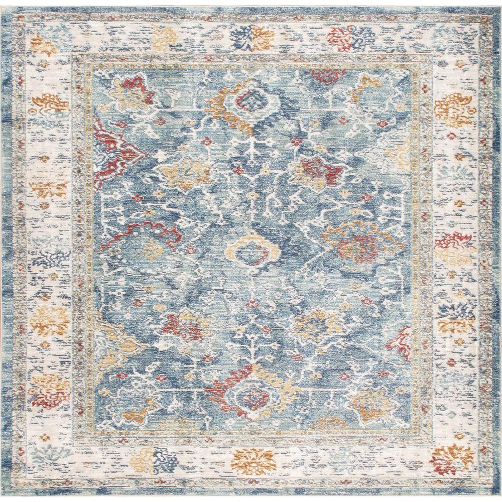 Pasargad Home Heritage Light Blue 6 Ft X 6 Ft Square Floral Polypropylene And Polyester Ara Rug Pfh 04 6x6 The Home Depot