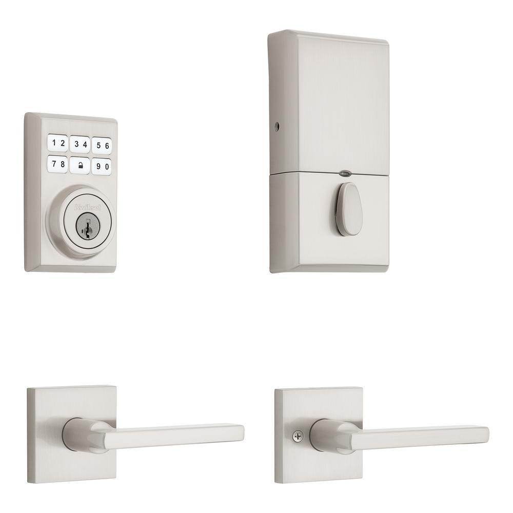 Kwikset Kwikset SmartCode Contemporary Satin Nickel Single Cylinder Electronic Deadbolt and Halifax Passage Lever with SmartKey Security