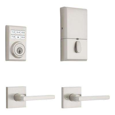 SmartCode Contemporary Satin Nickel Single Cylinder Electronic Deadbolt and Halifax Passage Lever with SmartKey Security