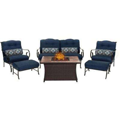 Oceana 6-Piece Patio Seating Set with Tile-Top Fire Pit and Navy Blue Cushions