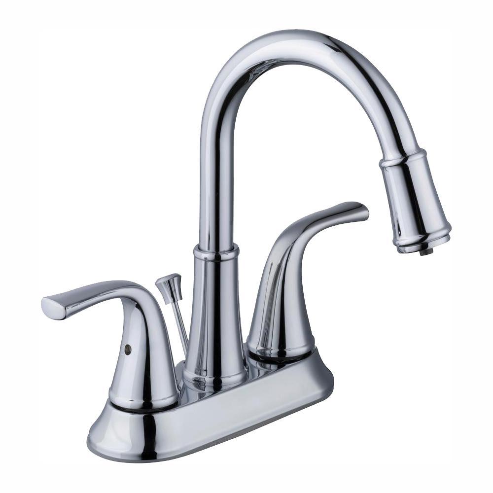 Glacier Bay Focus 4 in. Centerset 2-Handle LED High-Arc Bathroom Faucet in Chrome
