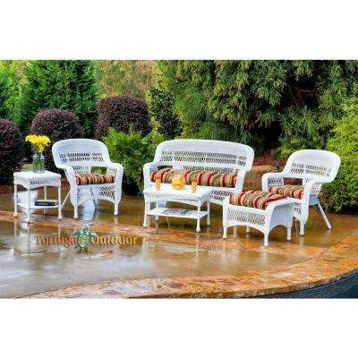Portside White 6-Piece Wicker Patio Seating Set with Eastbay Pompeii Cushions
