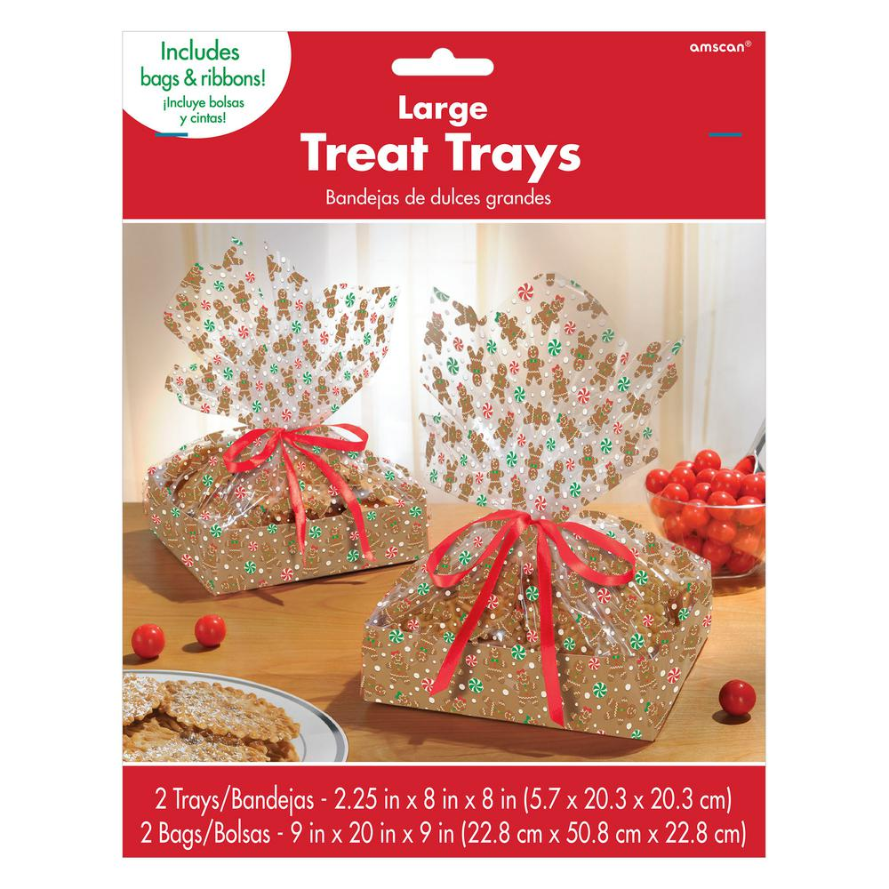Christmas Platters And Trays.Amscan Gingerbread Treat Tray Kits 2 Count 3 Pack