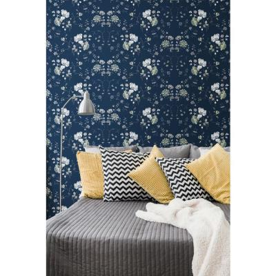 Nomad Collection Floral Lace in Deep Sea Removable and Repositionable Wallpaper