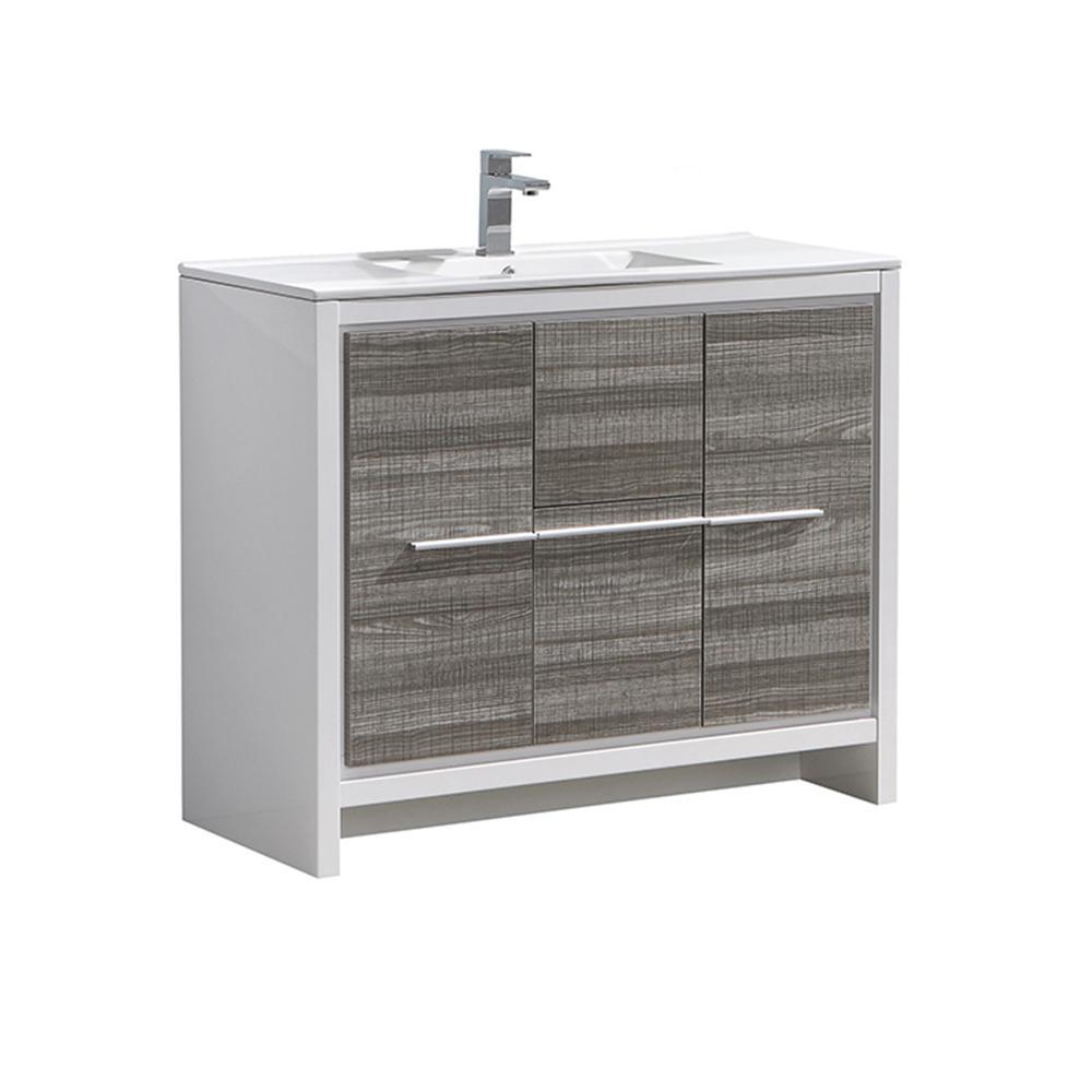 Allier Rio 40 in. Modern Bathroom Vanity in Ash Gray with Ceramic Vanity Top in White