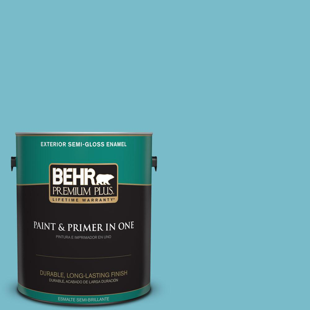 1-gal. #M470-4 Azure Lake Semi-Gloss Enamel Exterior Paint