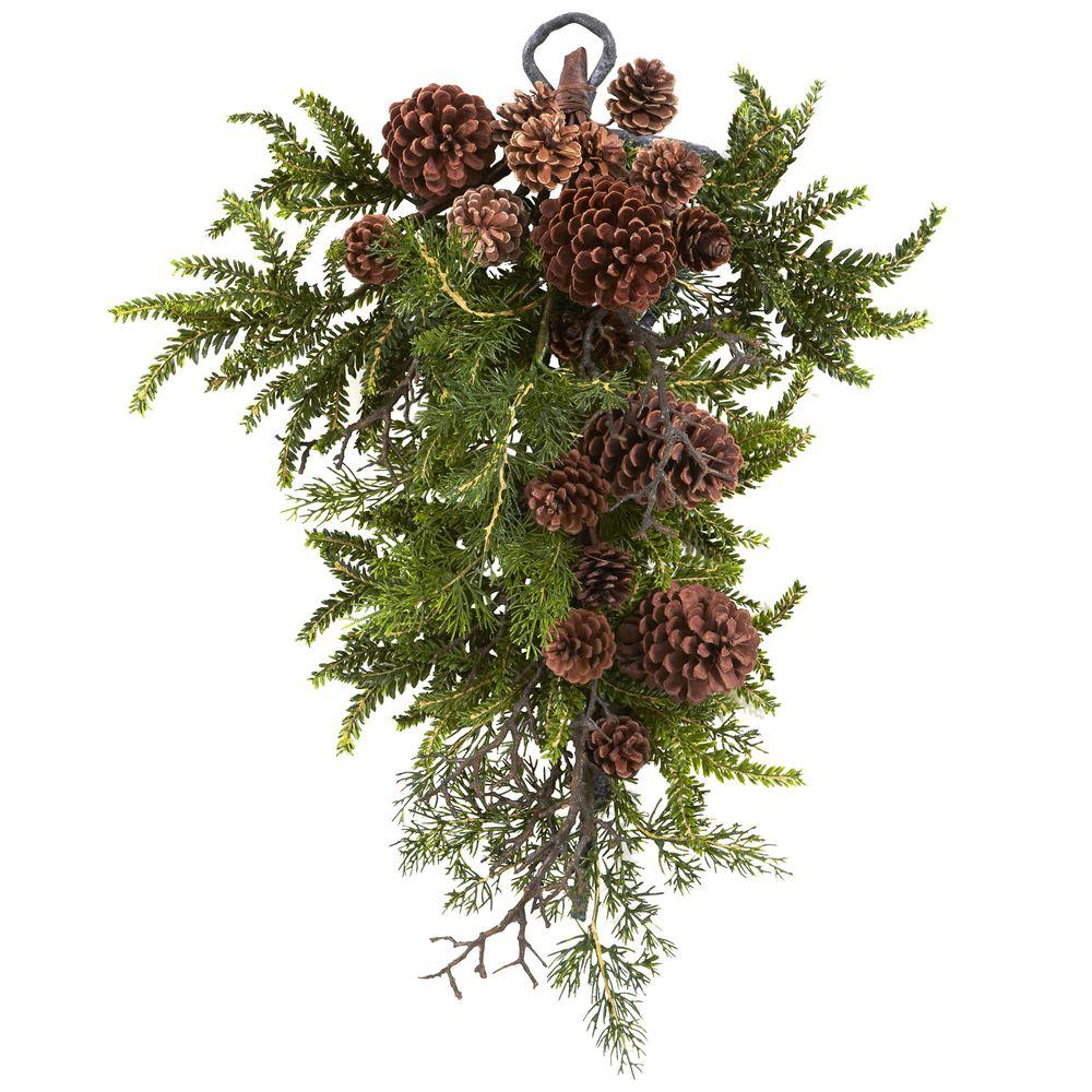 Nearly Natural 26 in. Pine and Pine Cone Teardrop, Multi