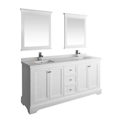 Windsor 72 in. W Traditional Double Bath Vanity in Matte White Quartz Stone Vanity Top in White White Basins and Mirrors