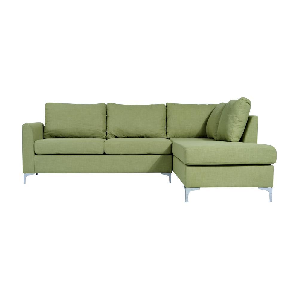 Green Reversible Linen Sectional