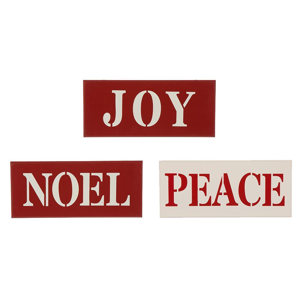 S/3 14 in. L  in. JOY NOEL PEACE in.  Wall Decor