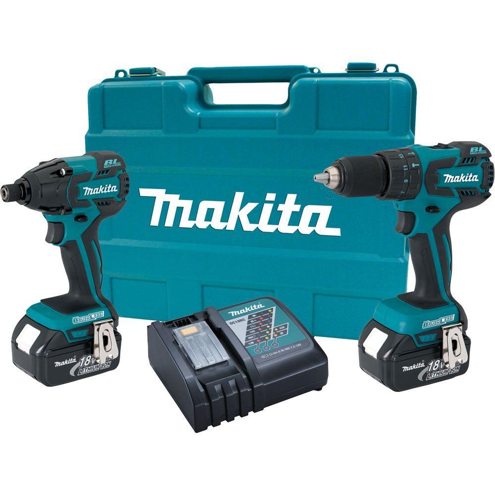 makita 18 volt lxt lithium ion brushless combo kit 2 tool lxt239 the home depot. Black Bedroom Furniture Sets. Home Design Ideas