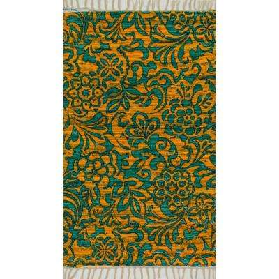 Aria Lifestyle Collection Lime/Teal 1 ft. 8 in. x 3 ft. Area Rug