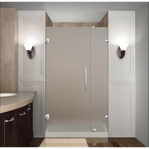 Nautis 28 in. x 72 in. Completely Frameless Hinged Shower Door with Frosted Glass in Stainless Steel