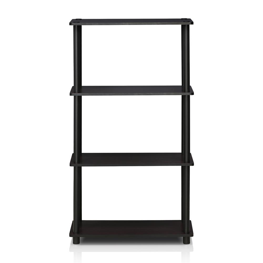 43.25 in. Dark Walnut Plastic 4-shelf Etagere Bookcase with Open Back