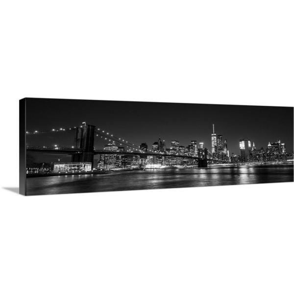 Greatbigcanvas New York City Skyline With Brooklyn Bridge In Foreground At Night By Circle Capture Canvas Wall Art 2417947 24 36x12 The Home Depot
