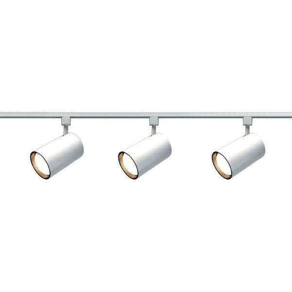White Nuvo Lighting TK345 3-Light Line Voltage 50-Watt MR16 GU10 Base Square Head Track Light Kit