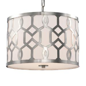 Jennings 3-Light Polished Nickel Shaded Chandelier with Silk Shade
