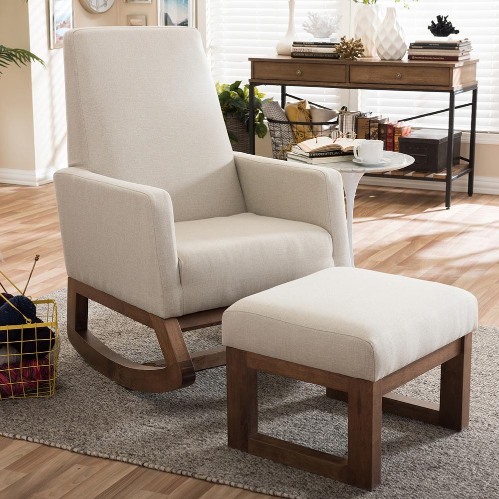 Baxton Studio Yashiya Mid Century Beige Fabric Upholstered