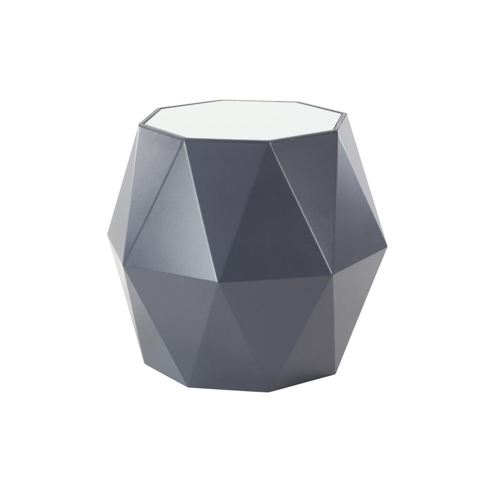 20 in. x 23 in. Black Multi-Faceted Accent Table with White