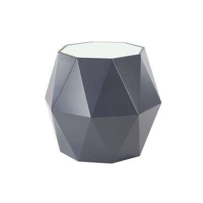 20 in. x 23 in. Black Multi-Faceted Accent Table with White Tabletop