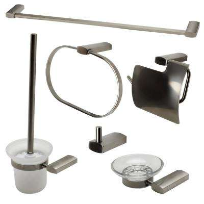 6-Piece Bath Hardware Set in Brushed Nickel