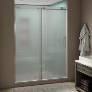 x 75 in Frosted Glass in Chrome Aston SEN979F-CH-48-10 Langham 44-48 in Completely Frameless Sliding Shower Enclosure 44 to 48 x 33.8125 x 75 x 35 in