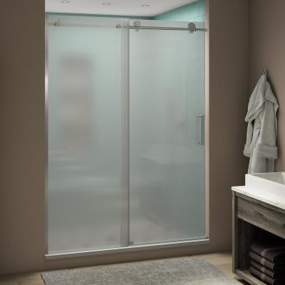 Coraline XL 48 - 52 in. x 80 in. Frameless Sliding Shower Door with Ultra-Bright Frosted Glass in Polished Chrome