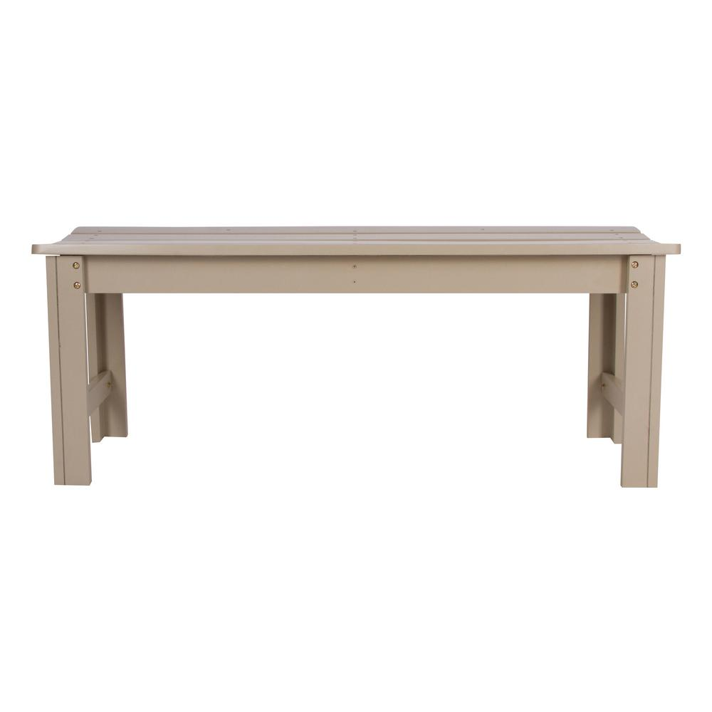 4 ft. Backless Cedar Wood Outdoor Garden Bench - Taupe Gray