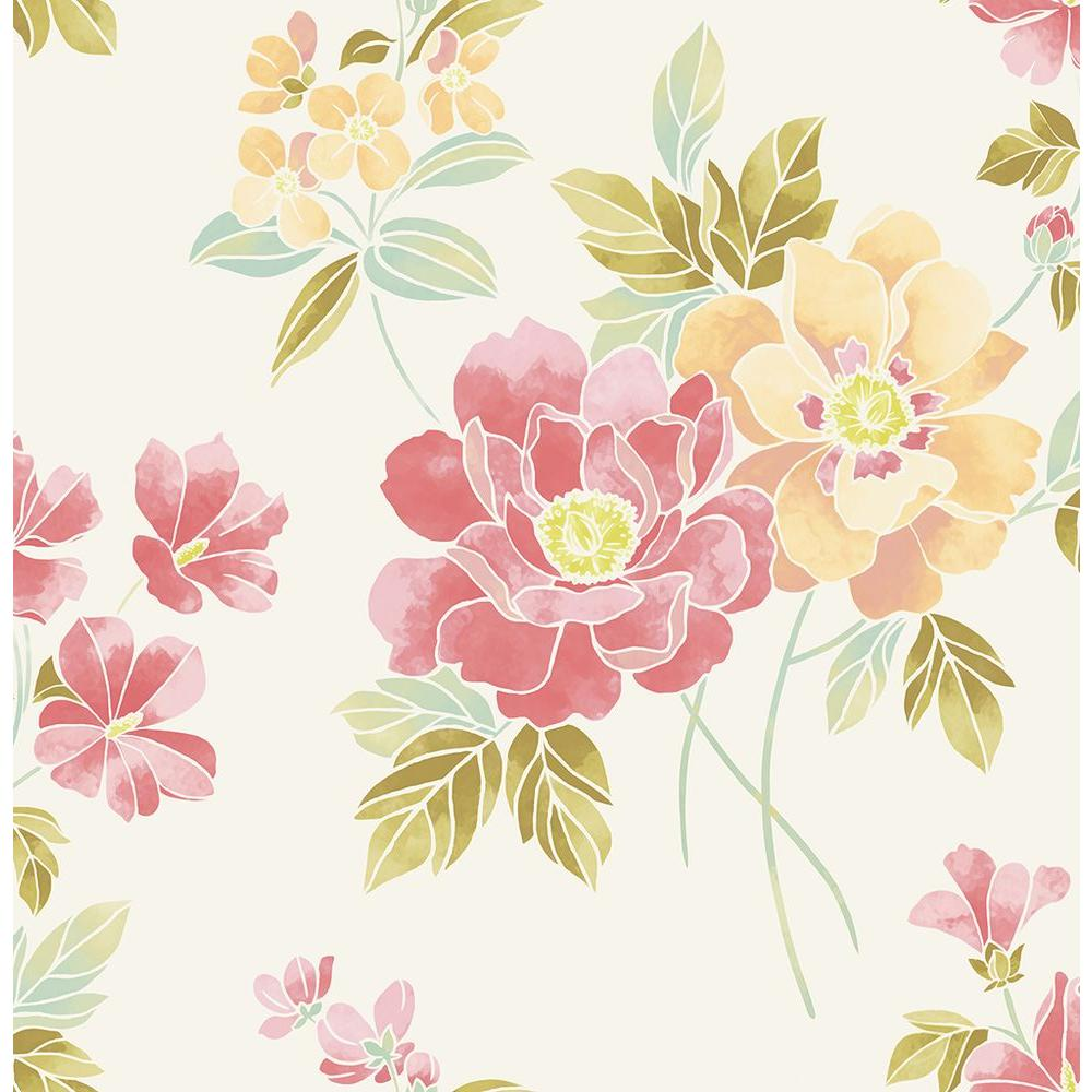 A Street Claressa Apricot Floral Wallpaper 2656 004004 The Home