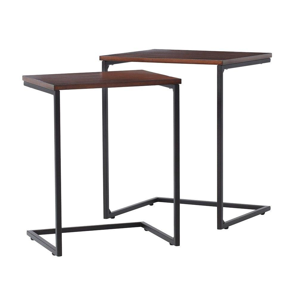 Home Decorators Collection Black 2 Piece Nesting End Table