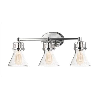 Seafarer 3-Light Polished Chrome Vanity Light with Clear Seedy Glass Shades