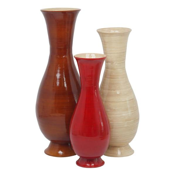 Uniquewise Tall Set Of 3 Tri Red Natural Brown Color And Sizes Modern Handmade Bamboo Floor Vase Qi003592 3 The Home Depot